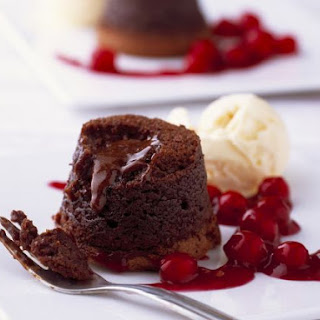 Melting Chocolate Puddings with Poached Cherries