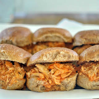 Slow Cooker Buffalo Ranch Chicken Sliders.
