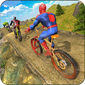 Superhero BMX Bicycle racing hill climb offroad