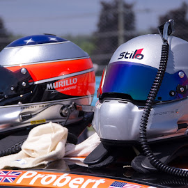 Getting Ready by Art Tilts - Sports & Fitness Motorsports ( race, helmet, flags, silver, team )