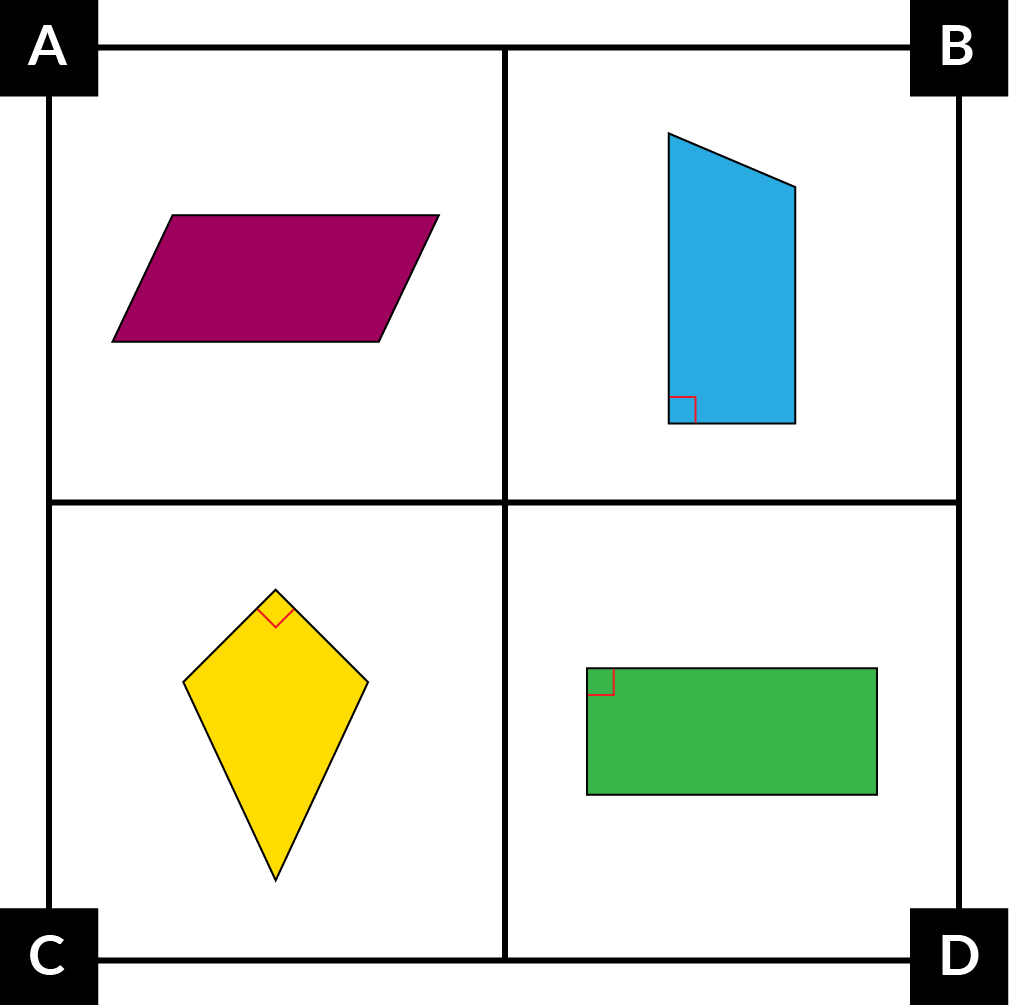 A: A purple parallelogram. B: A blue trapezoid with 2 right angles and no congruent sides. C: A yellow kite with 1 right angle. D: A green rectangle.