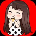 Cute girl love stickers icon