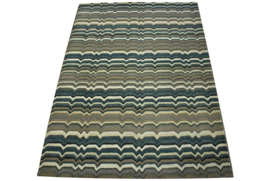 100% wełnany nowoczesny dywan z Indii ręcznie taftowany desen 160x230cm szary brąz beż
