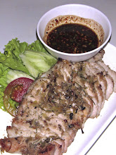 "Photo: charcoal-grilled lemon grass pork with hot-and-sour roasted chilli dipping sauce (""moo yahng takrai""), My Choice"