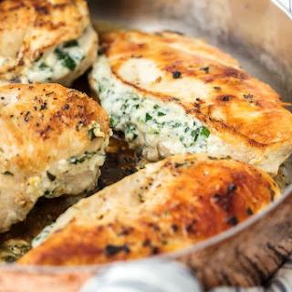 3 Ingredient Spinach Dip Stuffed Chicken.