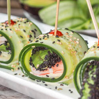 Asian Cucumber Rolls with Shrimp, Avocado and Wasabi Aioli {GF, DF}