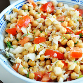 Fresh Chickpea Salad with Cod & Mustard Sauce