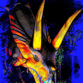 Study in 3 D Colors by Dave Walters - Digital Art Abstract ( jurassic quest, dinosaur, lumix fz2500, colors, digital art )