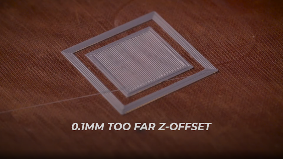 A calibration 3D print with the Z-Offset set approximately 0.1mm too far.