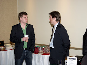 Photo: Jonathan Bloomquist chatting with Patrick St-Onge