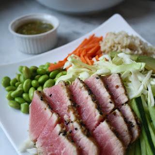 Asian Salad with Wasabi Crusted Ahi Tuna  .