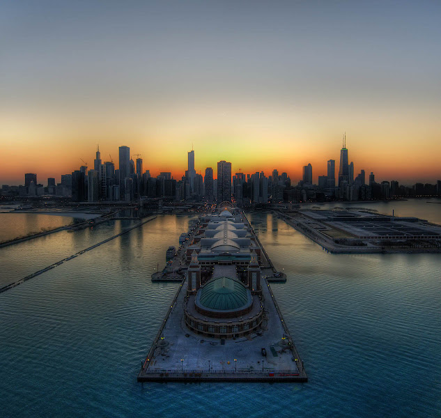 Photo: Chicago Thaws into Spring  I was lucky enough to be in a helicopter over Chicago at sunset. A big thanks to Fiona and our pilots Bill and Jeff. They took the door off the helicopter for me, which sounds like a good idea until you are experiencing 100 MPH of chopper backwash while hanging out trying to get this kind of shot!  from Trey Ratcliff at www.stuckincustoms.com