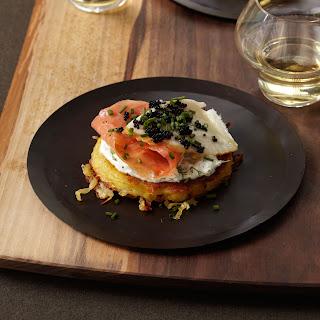 Crispy Potato Galette with Dill Cream, Smoked Salmon and Sturgeon and Osetra Caviar.