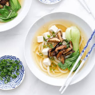 Ginger Miso Udon Noodle Soup with Roasted Mushrooms.