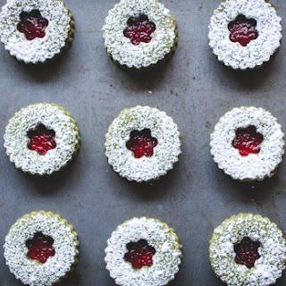 Cranberry & White Chocolate Matcha Shortbread Sandwich Cookies.