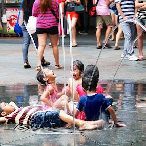Happy Children by Samson Calma - People Street & Candids ( child, water, fountain, children, enjoy )
