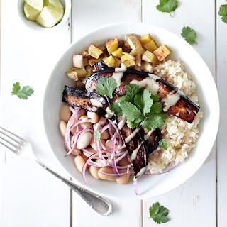 Roasted Potato & Bean Bowl with Aubergine Bacon