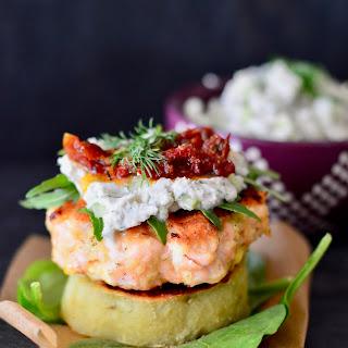 Salmon Burgers with Dairy-Free Tzatziki and Sweet Potato Buns