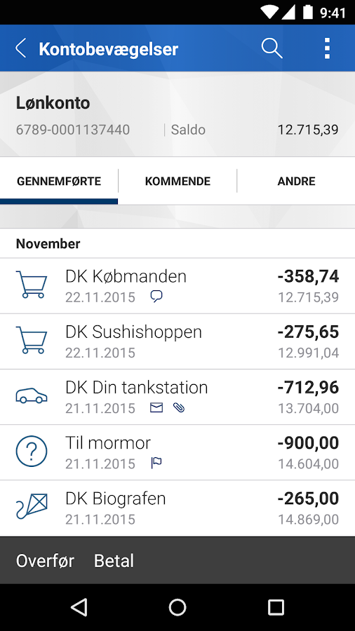 Nordfyns Banks Mobilbank- screenshot