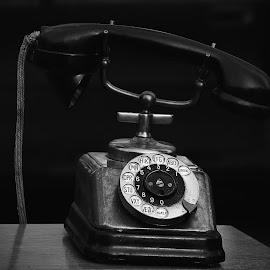Waiting For A Call ! by Marco Bertamé - Black & White Objects & Still Life ( headset, cable, round, number, circle, 3, 2, 1, 0, 7, 6, 5, 4, 9, 8, telephone, dial plate )