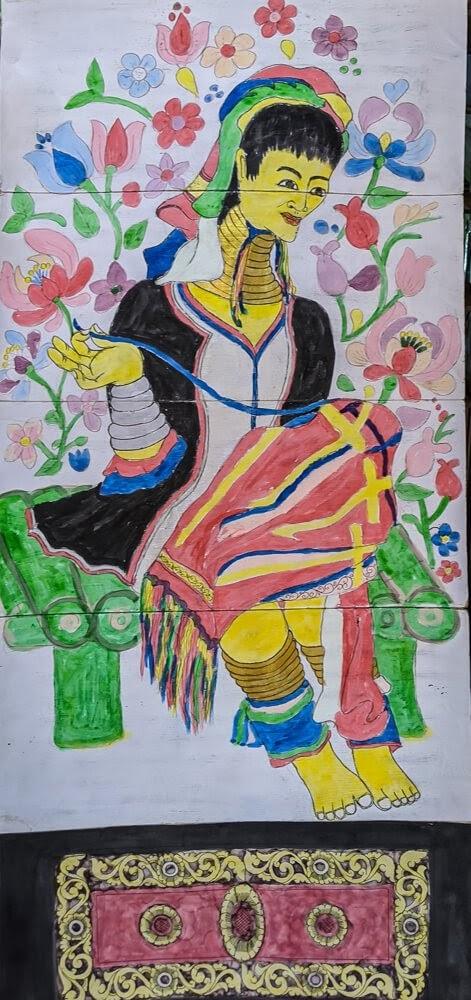 padaung woman painting kayah state