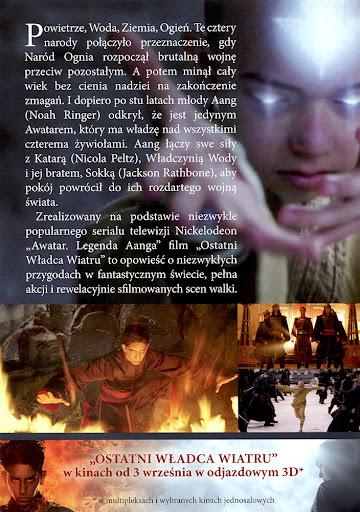 Tył ulotki filmu 'Ostatni Władca Wiatru'