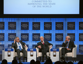 Photo: DAVOS/SWITZERLAND, 26JAN12 - Salam Fayyad (FLTR), Prime Minister of the Palestinian Authority, Shimon Peres, President of Israel and Klaus Schwab, Founder and Executive Chairman, World Economic Forum; Foundation Board Member are captured during the session 'Special Conversation: Prospects for Peace in the New Middle East Context' at the Annual Meeting 2012 of the World Economic Forum at the congress centre in Davos, Switzerland, January 26, 2012.  Copyright by World Economic Forum swiss-image.ch/Photo by Remy Steinegger