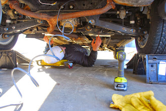 Photo: Wiring the Subaru.  Our trailer weighs 1200 pounds fully loaded.