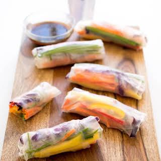 Rainbow Vegetable Spring Rolls.