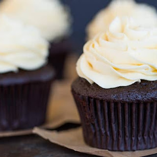 Chocolate Cupcakes with Vanilla Frosting.