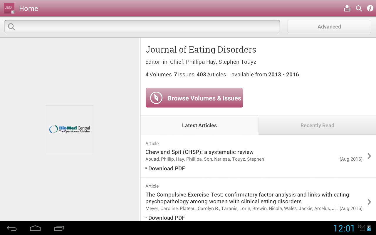 Journal of Eating Disorders- screenshot