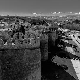 muralla de Avila by -. Phooneenix .- - Black & White Buildings & Architecture ( black and white, muralla, avila )