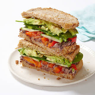 Veggie Sandwich with Lemony-Black Bean Spread.