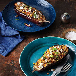 Eggplant with Lentils and Goat Cheese.