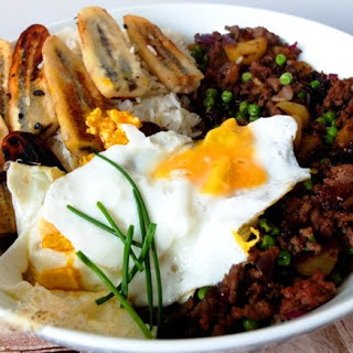 Filipino Style Cuban Rice with Mince Meat and Fried Bananas