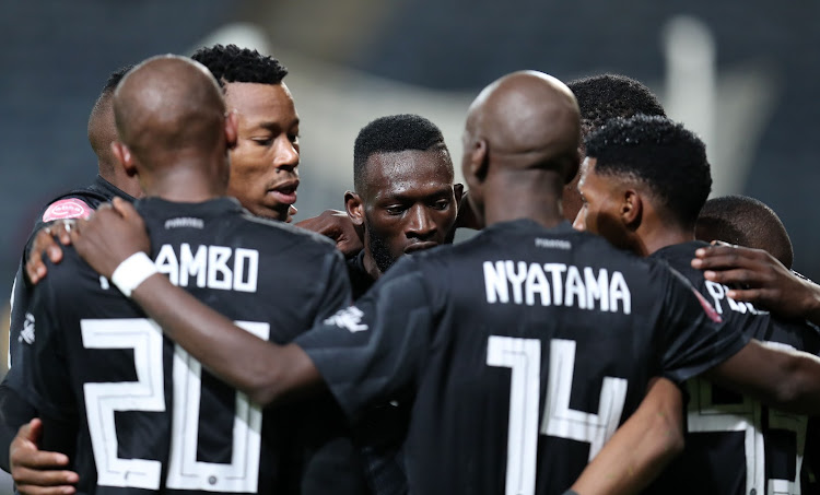 Vincent Pule of Orlando Pirates celebrates with teammates during the Absa Premiership 2018/19 match between Orlando Pirates and Chippa United at the Orlando Stadium, Soweto on 08 January 2019.
