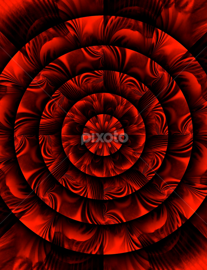 R&B Abstract 1  by Tina Dare - Digital Art Abstract ( abstract, circles, kaleidoscope, reds, patterns, red and black, designs, shapes )
