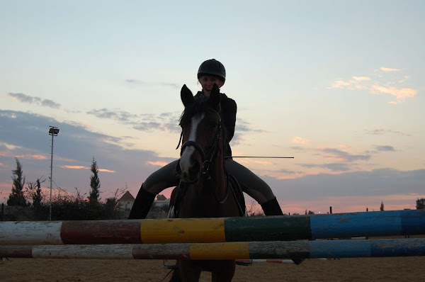 Expat woman posing with her horse in front of a jump during Sunset in Egypt