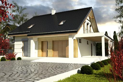 projekt Nowinka VI z garażem i wiatą A1