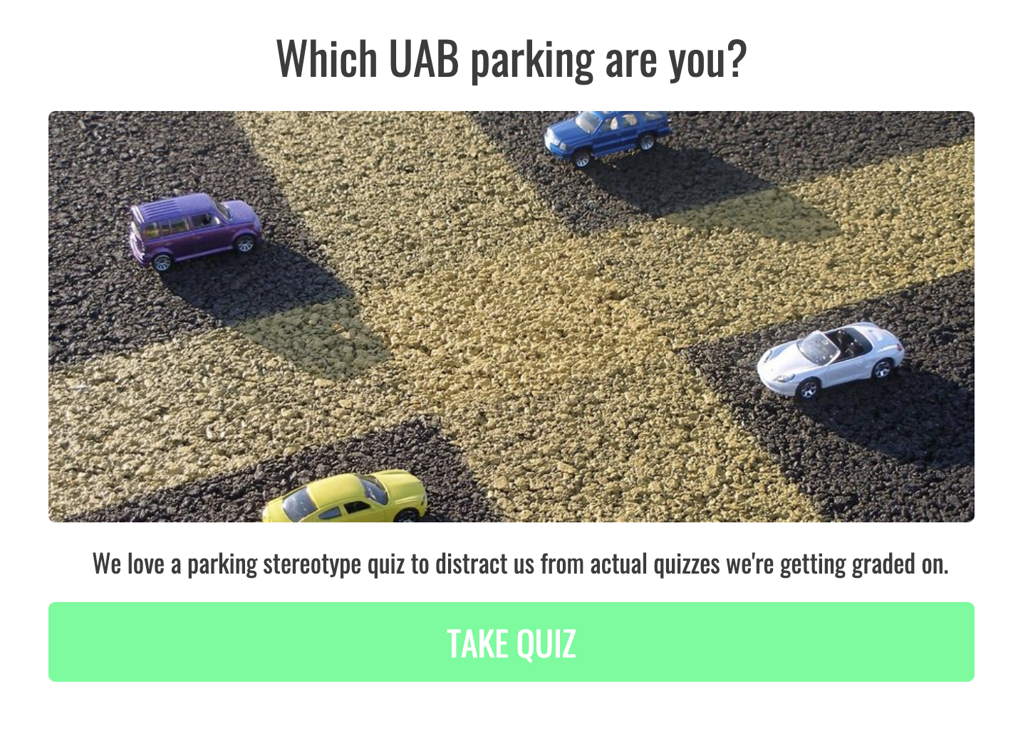 quiz cover for college quiz about parking location