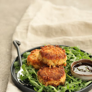Tuna Kimchi Cakes with Soy Ginger Dipping Sauce.