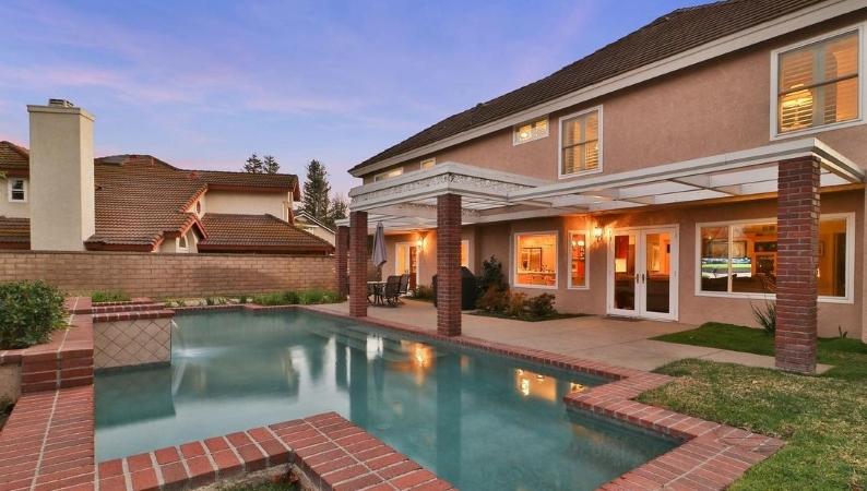 Backyard of home in Westlake Village, CA