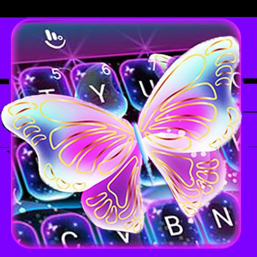 Colorful Glitter Neon Butterfly Keyboard Theme