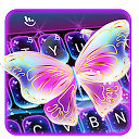 Colorful Glitter Neon Butterfly Keyboard Theme 6.11.7.2018