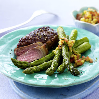 Steak with  Mango Salsa and Asparagus