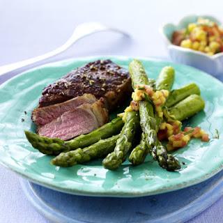 Steak with  Mango Salsa and Asparagus.