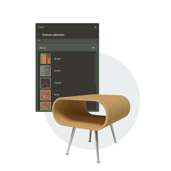 Furniture design options for interior design software