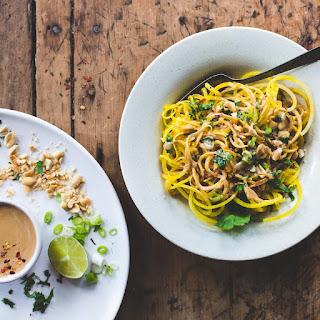Golden Beet Noodles with Spicy Peanut Sauce.