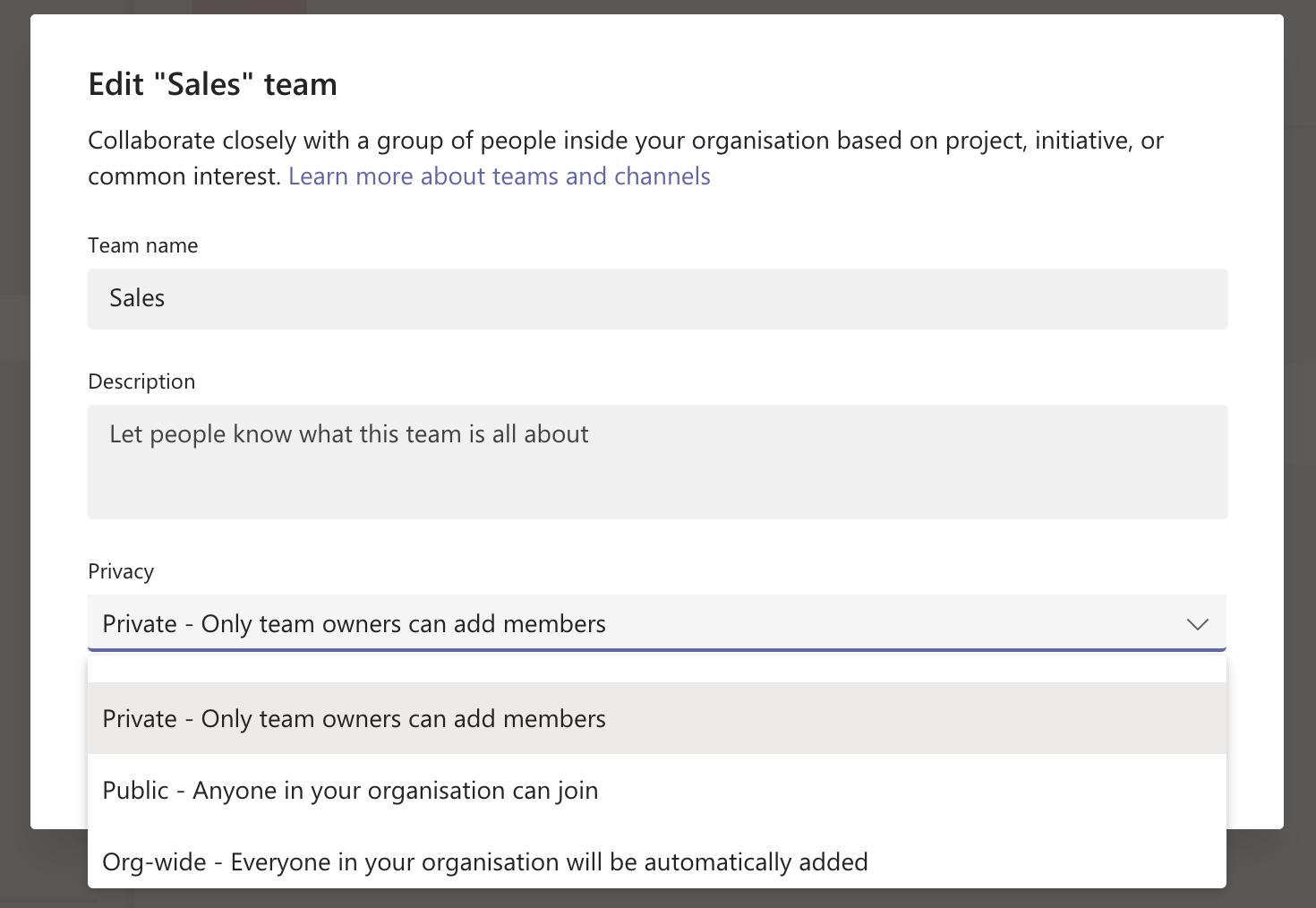 Edit existing team's details on MS Teams