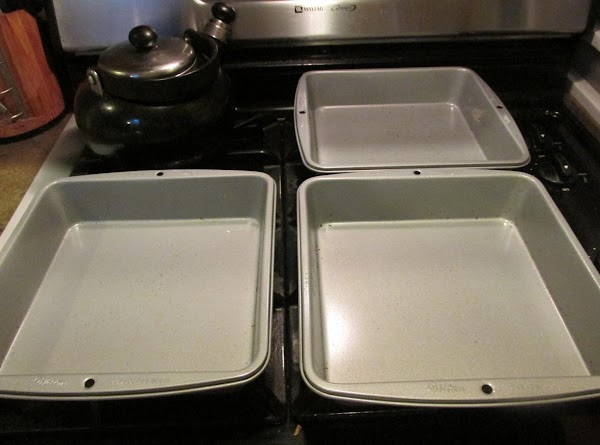 Preheat oven to 350 degrees F. These are the 2 pans (9 X 9...